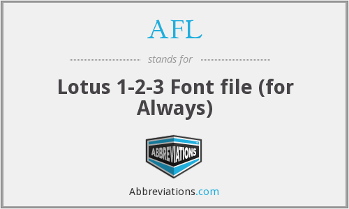 AFL - Lotus 1-2-3 Font file (for Always)