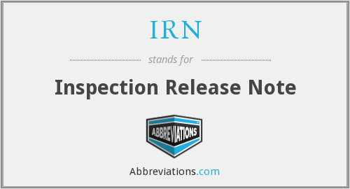 IRN - Inspection Release Note