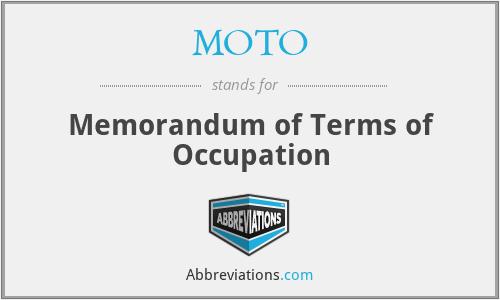 MOTO - Memorandum of Terms of Occupation