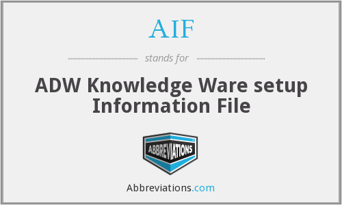 AIF - ADW Knowledge Ware setup Information File