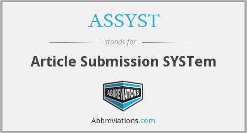 ASSYST - Article Submission SYSTem
