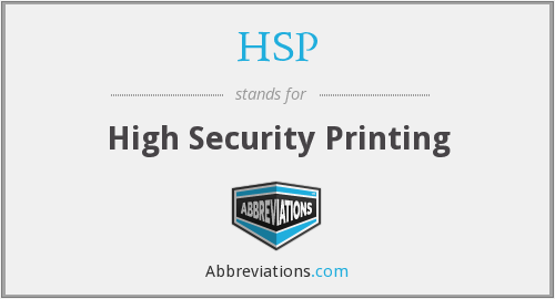 HSP - High Security Printing