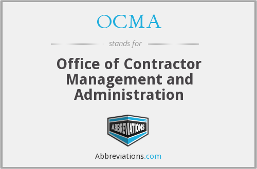 OCMA - Office of Contractor Management and Administration