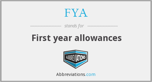 FYA - First year allowances