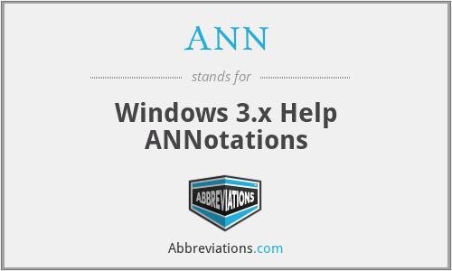 ANN - Windows 3.x Help ANNotations