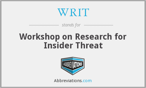 WRIT - Workshop on Research for Insider Threat