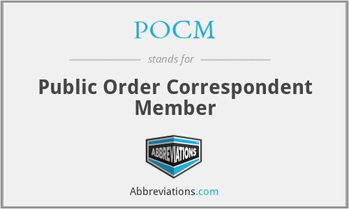 POCM - Public Order Correspondent Member