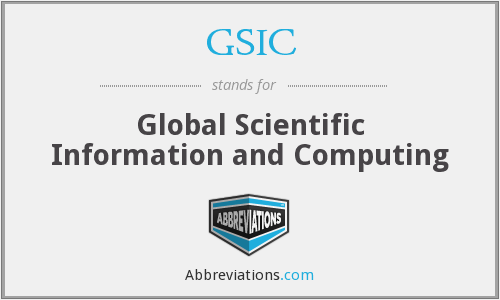 GSIC - Global Scientific Information and Computing