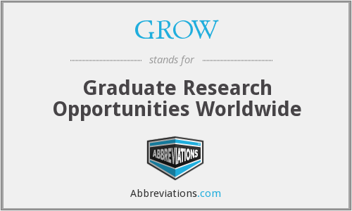 GROW - Graduate Research Opportunities Worldwide
