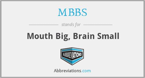 MBBS - Mouth Big, Brain Small