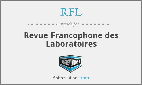 RFL - Revue Francophone des Laboratoires