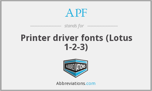 APF - Printer driver fonts (Lotus 1-2-3)