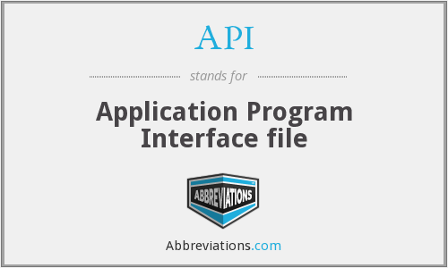 API - Application Program Interface file