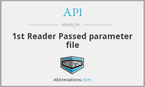 API - 1st Reader Passed parameter file