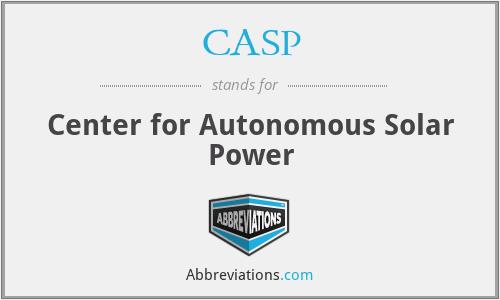 CASP - Center for Autonomous Solar Power