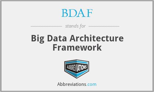BDAF - Big Data Architecture Framework