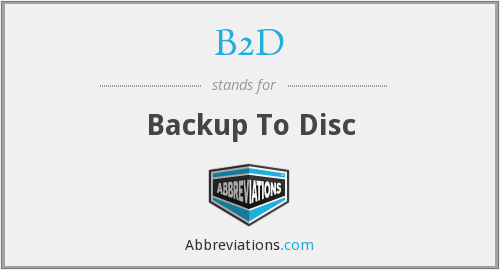 B2D - Backup To Disc