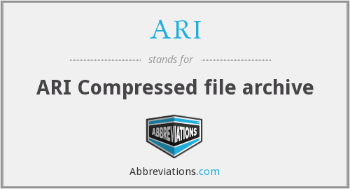 ARI - ARI Compressed file archive