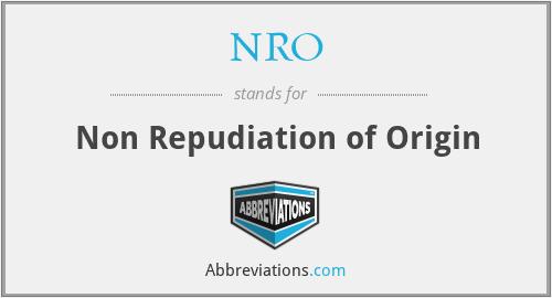 NRO - Non Repudiation of Origin