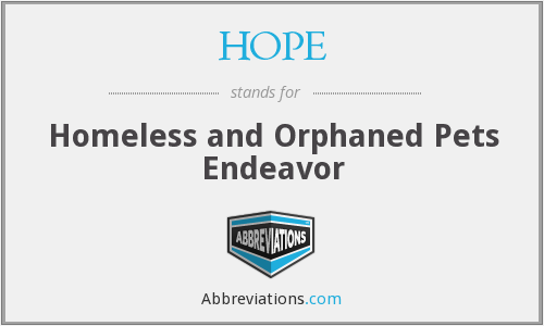 HOPE - Homeless and Orphaned Pets Endeavor
