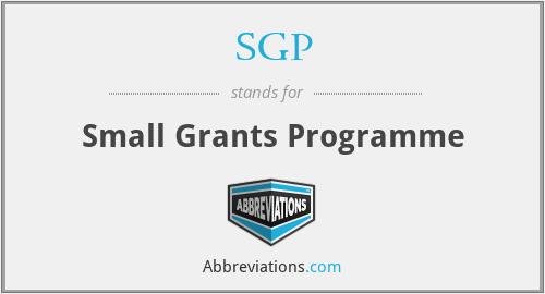 SGP - Small Grants Programme