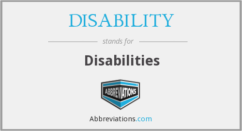 What does DISABILITY stand for?