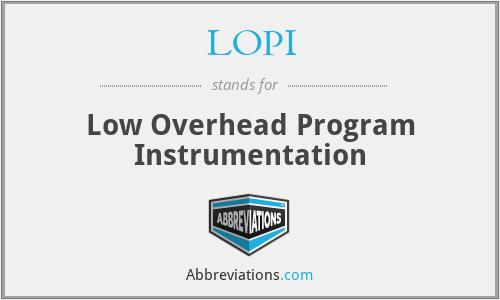 LOPI - Low Overhead Program Instrumentation