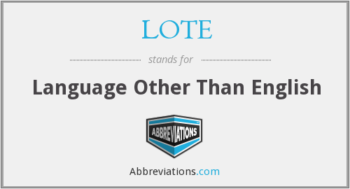 LOTE - Language Other Than English