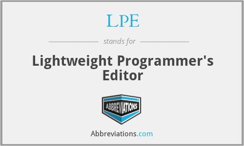 LPE - Lightweight Programmer's Editor
