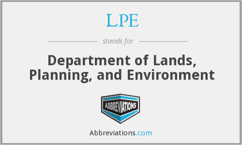 LPE - Department of Lands, Planning, and Environment