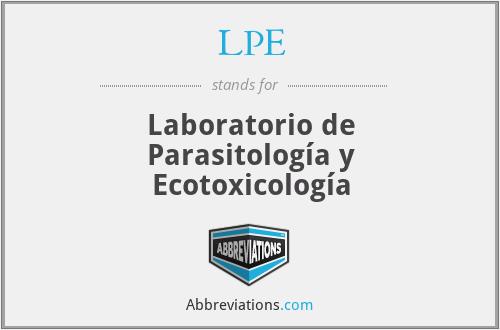 LPE - Laboratorio de Parasitología y Ecotoxicología