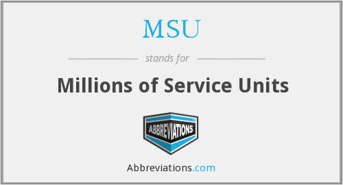 MSU - Millions of Service Units