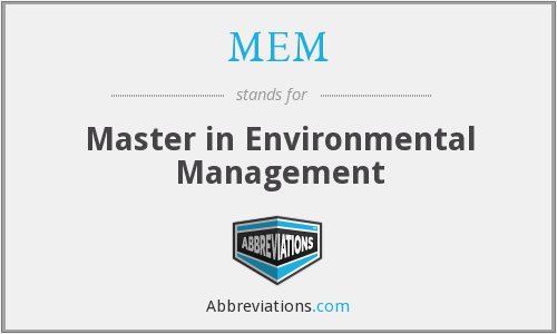 MEM - Master in Environmental Management