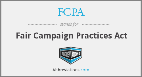 FCPA - Fair Campaign Practices Act