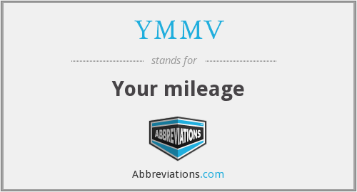 YMMV - Your mileage