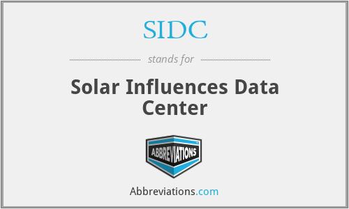 SIDC - Solar Influences Data Center