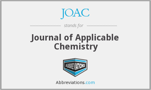 JOAC - Journal of Applicable Chemistry