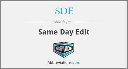SDE - Same Day Edit