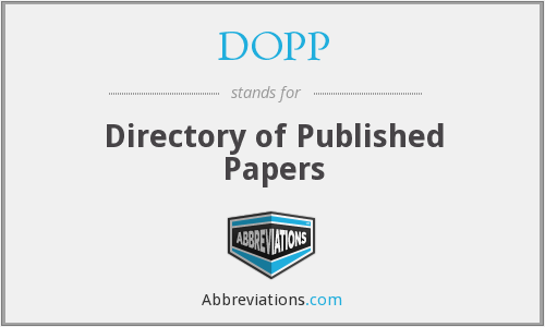 DOPP - Directory of Published Papers