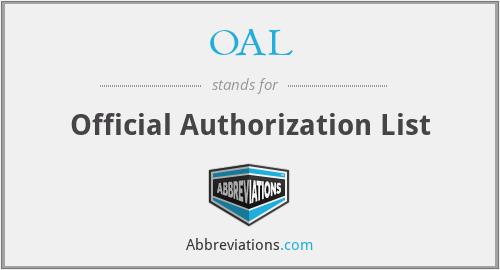 OAL - Official Authorization List