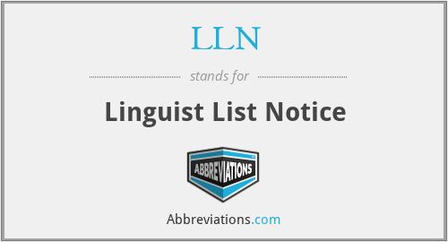 LLN - Linguist List Notice