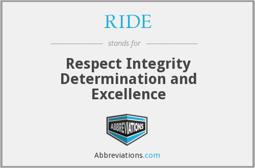 RIDE - Respect Integrity Determination and Excellence