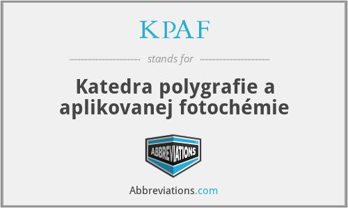 KPAF - Katedra polygrafie a aplikovanej fotochémie