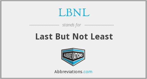 LBNL - Last But Not Least
