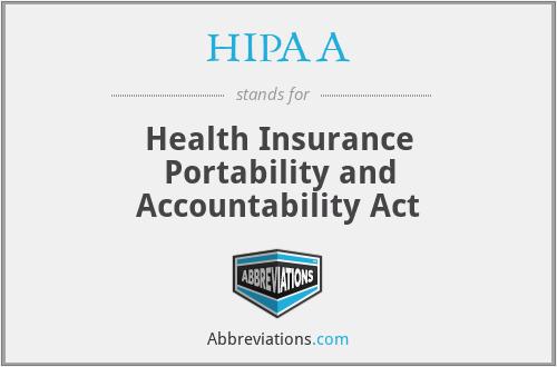 HIPAA - Health Insurance Portability and Accountability Act