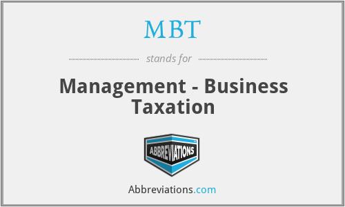 MBT - Management - Business Taxation