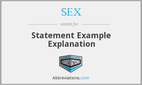 SEX - Statement Example Explanation