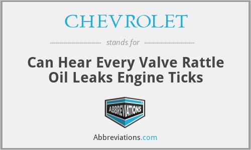 CHEVROLET - Can Hear Every Valve Rattle Oil Leaks Engine Ticks