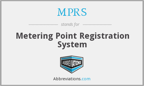 MPRS - Metering Point Registration System