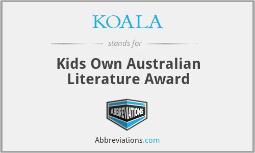 KOALA - Kids Own Australian Literature Award